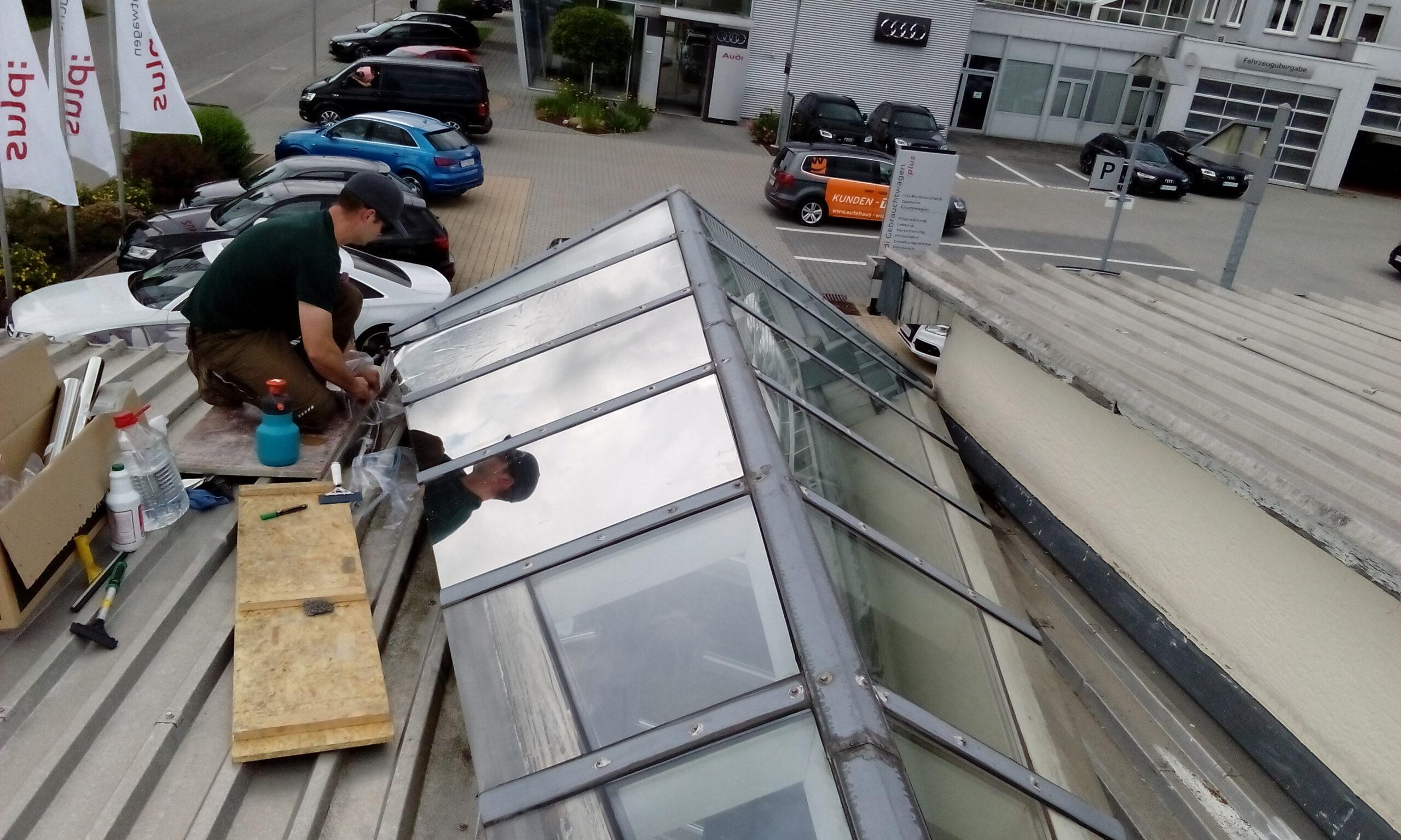 Beschichtung von Glasdächern